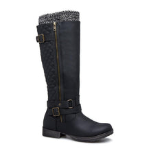 Load image into Gallery viewer, Women Winter Slip-On Buckle Sweater Knit Boots