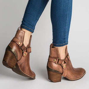 Buckle Artificial Leather Chunky Heel All Season Boots