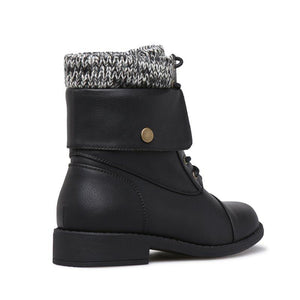 Women Winter Lace-Up Sweater Knit Ankle Boots