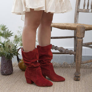Faux Suede Block Heel Mid-Calf Boots Slip-On Women Boots