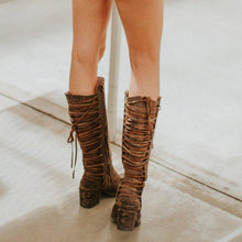 Load image into Gallery viewer, Zipper Winter Chunky Heel Lace Up Mid-Calf Boots