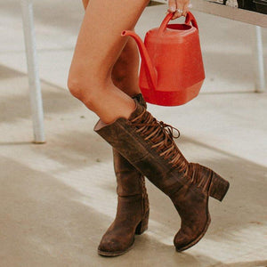 Zipper Winter Chunky Heel Lace Up Mid-Calf Boots