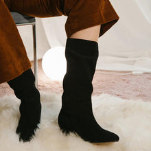 Load image into Gallery viewer, Faux Suede Block Heel Mid-Calf Boots Slip-On Women Boots