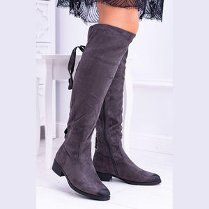 Back Lace Up Side Zipper Chunky Heel Faux Suede Boots