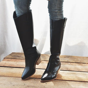 Office Slip On Chunky Heel Winter Knee Boots