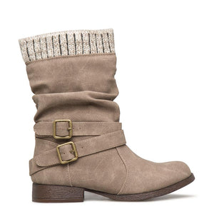 Women Winter Slip-On Sweater Knit Button Boots