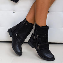 Load image into Gallery viewer, Chunky Heel Adjustable Buckle Side Zipper Ankle Boots