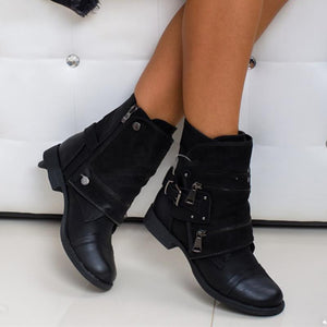 Chunky Heel Adjustable Buckle Side Zipper Ankle Boots