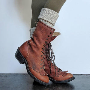 Artificial Leather Lace-Up Mid-Calf Boots Fashion Women's Shoes