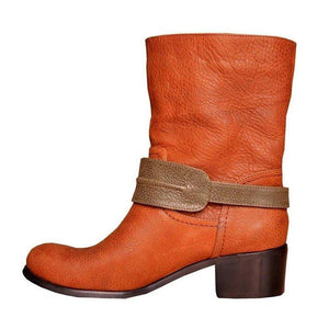 Autumn Fashion Decorative Zipper Chunky Heel Ankle Boots