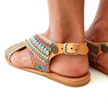 Load image into Gallery viewer, Blue Spring/fall Daily Flat Heel Sandals