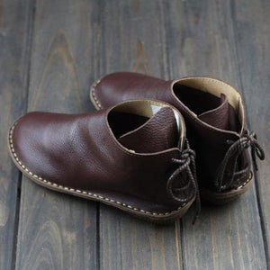 Women Lace-Up Soft Leather Booties