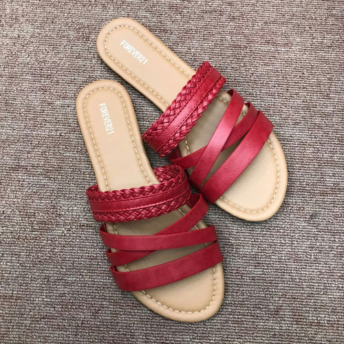 Women Crisscross Buckle Beach Pu Flat Heel Summer Sandals