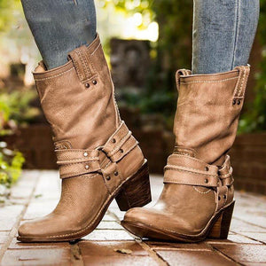 Artificial Leather Chunky Heel  Casual Women Ankle Boots