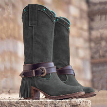 Load image into Gallery viewer, Women Casual Slip-On Low Heel Mid-Calf Tassel Boots