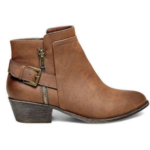 Womens Comfort Chunky Heel Ankle Booties