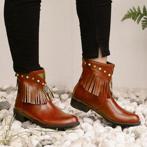 Womens Round Toe Casual Pu Zipper Chunky Heel Tassel Ankle Boots