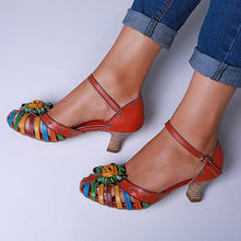 Load image into Gallery viewer, Spool Heel Fisherman Sandals Elegant Floral Colorful Sandals