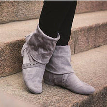 Load image into Gallery viewer, Chunky Heel Zipper Faux Suede Boots Womens Comfy Mid-Calf Shoes
