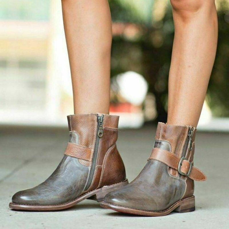 Womens Vintage Artificial Leather Zipper All Season Ankle Boots
