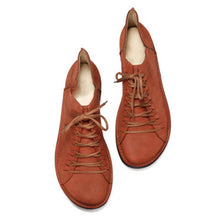 Load image into Gallery viewer, All Season Artificial Leather Flat Heel Loafers Natural Lace Up Shoes