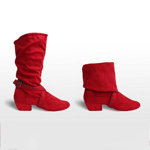 Chunky Heel Zipper Faux Suede Boots Womens Comfy Mid-Calf Shoes