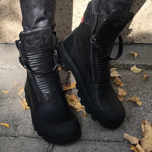 Load image into Gallery viewer, Comfortable PU Leather Ankle Boots Low Heel Zipper Boots