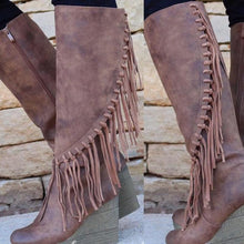 Load image into Gallery viewer, Women fringed wedges with boots