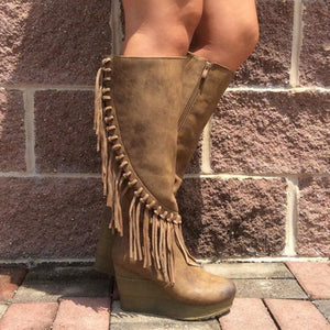 Women fringed wedges with boots
