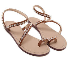 Load image into Gallery viewer, Brown PU Flat Heel Holiday Rhinestone Sandals