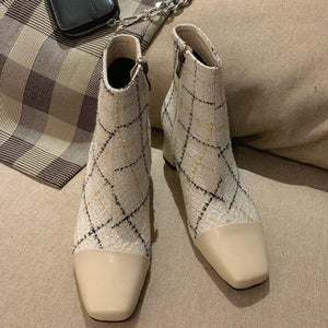 Zipper Chunky Heel Genuine Leather Boots