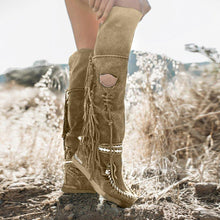 Load image into Gallery viewer, Fringe Flat Heel Long Boots Buckle Strap Knee-High Tassel Boots