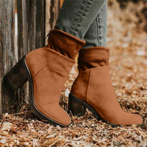 Woman Solid Block Chunky Heel Round Toe Ankle Boots