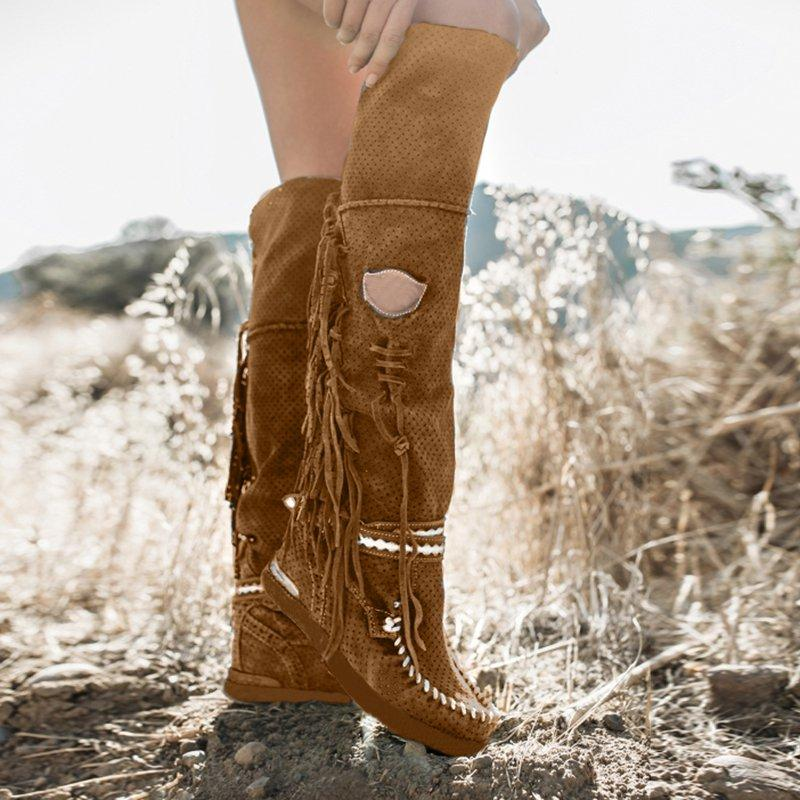 Fringe Flat Heel Long Boots Buckle Strap Knee-High Tassel Boots