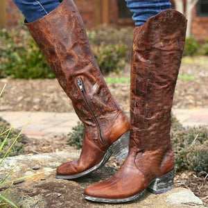 Womens Western Cowboy Boots  Artificial Leather Zipper Boots