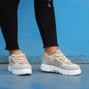 Womens Flat Heel Lace-Up All Season Date Sneakers