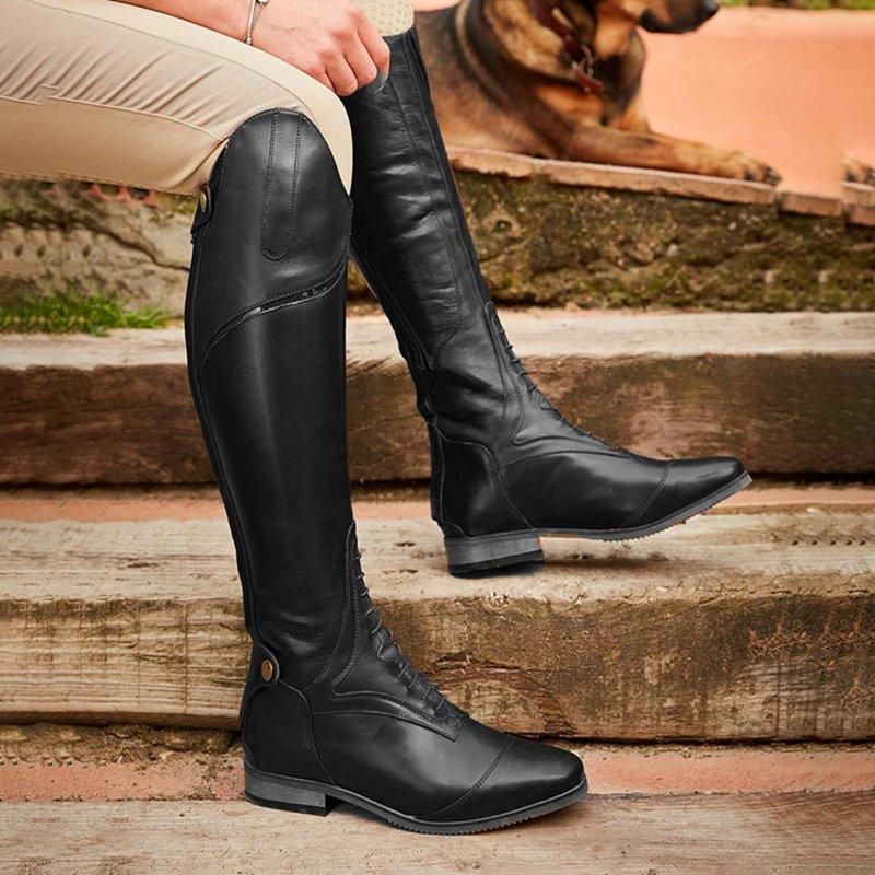 Leather Low Heel Knee Boots