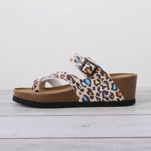 Printed Flip-Flops Beach Slippers Buckle Summer Pu Slippers