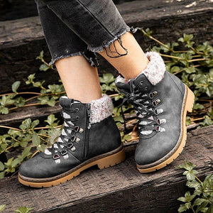 Brown Flat Heel Closed Toe Women Flat Boots
