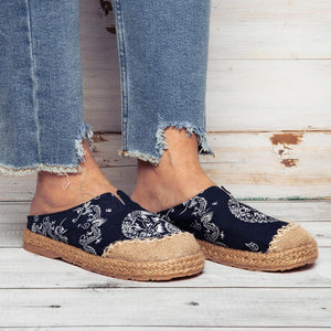 Vintage Cotton Flax Mule Slippers