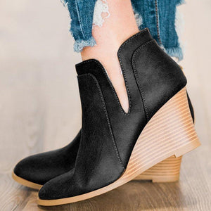 Woman Solid Zipper Pu Wedge Heel Round Toe Ankle Boots
