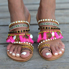 Load image into Gallery viewer, Handmade Women Sandals Tassel Flat Holiday Sandals with Beading