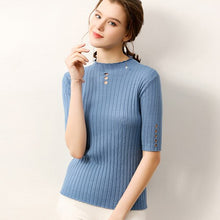 Load image into Gallery viewer, women knit sweater tops half sleeves hollow O-neck autumn female  pollover core yarn high quality ladies soft thin pullovers