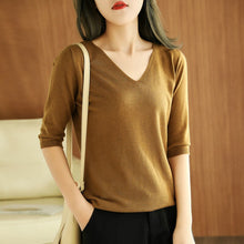 Load image into Gallery viewer, women  shirt short sleeves wool pullover short jacket V-neck soft spring autumn tops fashion knitwear