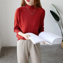 Load image into Gallery viewer, women spring sweater rabbit cashmere turtleneck half sleeves fashion elegant knitted pullover sweaters slim tops