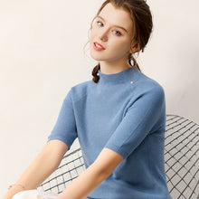 Load image into Gallery viewer, women sweater half sleeves crew neck casual solid female knitting autumn spring pullovers warm fashion ladies clothing