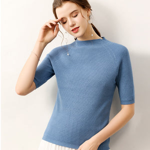 women sweater half sleeves crew neck casual solid female knitting autumn spring pullovers warm fashion ladies clothing