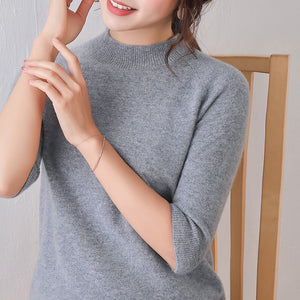 women sweater half sleeves crew neck real wool pullover warm spring outerwear casual fashion jumper basic shirt sweaters