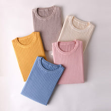 Load image into Gallery viewer, women tops spring halfsleeves knitting shirt round neck soft warm basicshirt short fashion pullover striped thin jacket