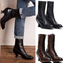 Load image into Gallery viewer, Stiletto Heel Spring/fall Lace-Up Boots